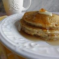 Whole Wheat Pancakes - light, fluffy with added whole wheat flour. | @tasteLUVnourish on TasteLoveAndNourish.com