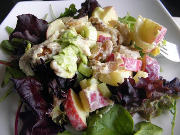 Curried Chicken Waldorf Salad - bites of chicken with crisp apples, celery and walnuts and sweet golden raisins in a light dressing. | @tasteLUVnourish on TasteLoveAndNourish.com