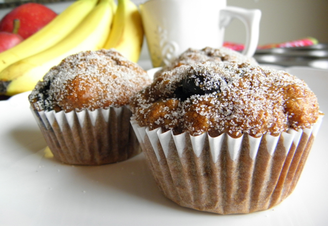 Blueberry Banana Muffins made with whole wheat flour and without any added fat! Moist and yummy! | @tasteLUVnourish on TasteLoveAndNourish.com