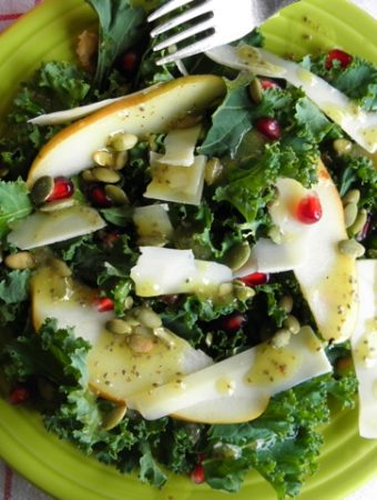 Kale and Pear Salad with Apple Cider and Chia Dressing - this superfood salad is amazing. This dressing will become your favorite go-to for all of your salads! | @tasteLUVnourish on TasteLoveAndNourish.com