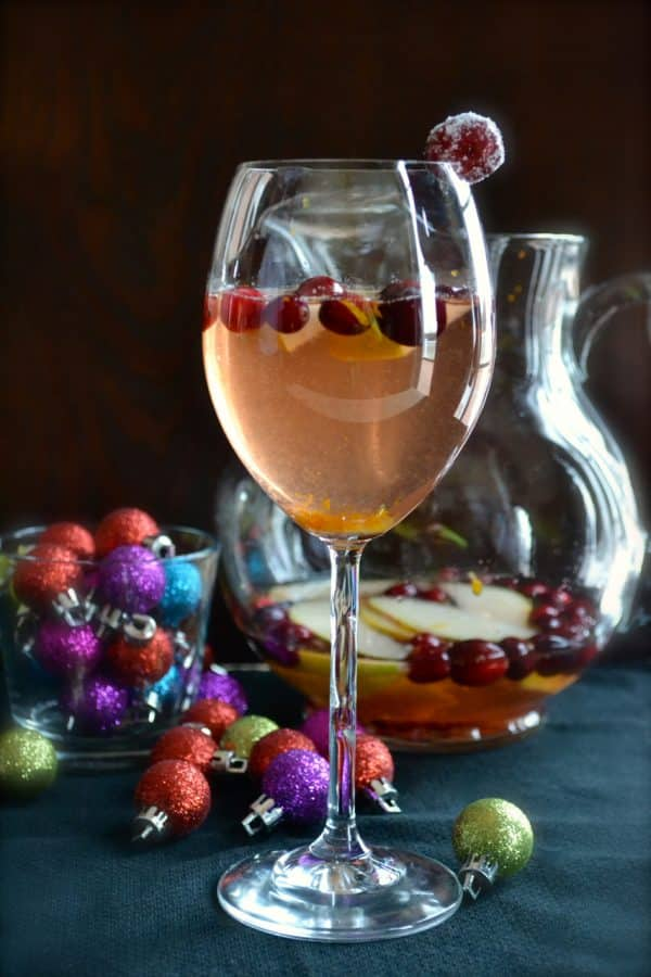 Cranberry Pear Christmas Sangria - make this easy sangria with red or white wine. | @tasteLUVnourish | #sangria #cocktail #holiday