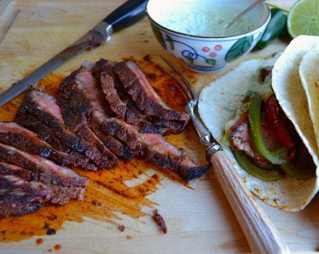 Steak Fajitas with Avocado Lime Crema | @tasteLUVnourish