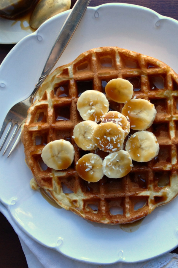 These Belgian Waffles with Banana and Coconut Caramel Sauce may be the best waffles I've ever had! The caramel sauce is delicious! | @tasteLUVnourish
