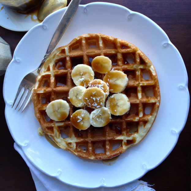 Belgian Waffles with Banana and Coconut Caramel Sauce - golden waffles are crisp on the outside, airy and tender on the inside. | @tasteLUVnourish