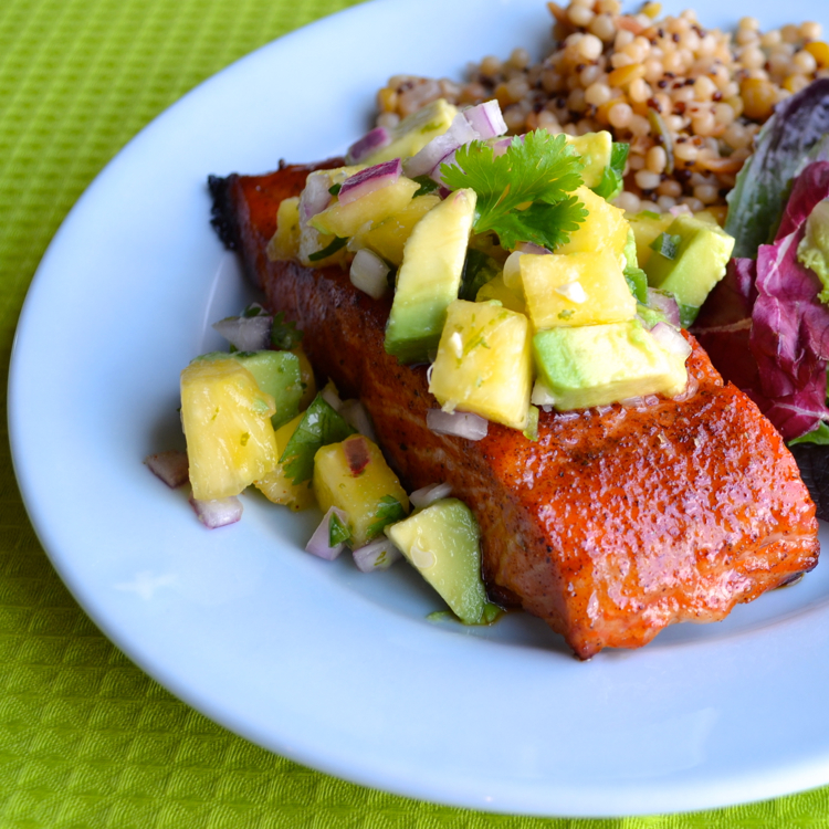 Grilled Salmon with Pineapple Avocado Salsa has a sweet and spicy ...