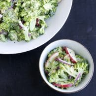 Shaved Broccoli Salad - you'll love these crisp slivers of broccoli with sweet apple, cranberries, red onion and toasted almonds with a lightened up tasty dressing! This is a reader favorite! | @tasteLUVnourish on TasteLoveAndNourish.com