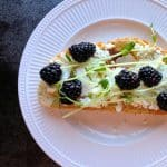 Tuscan Toast with Goat Cheese, Pea Shoots and Blackberries