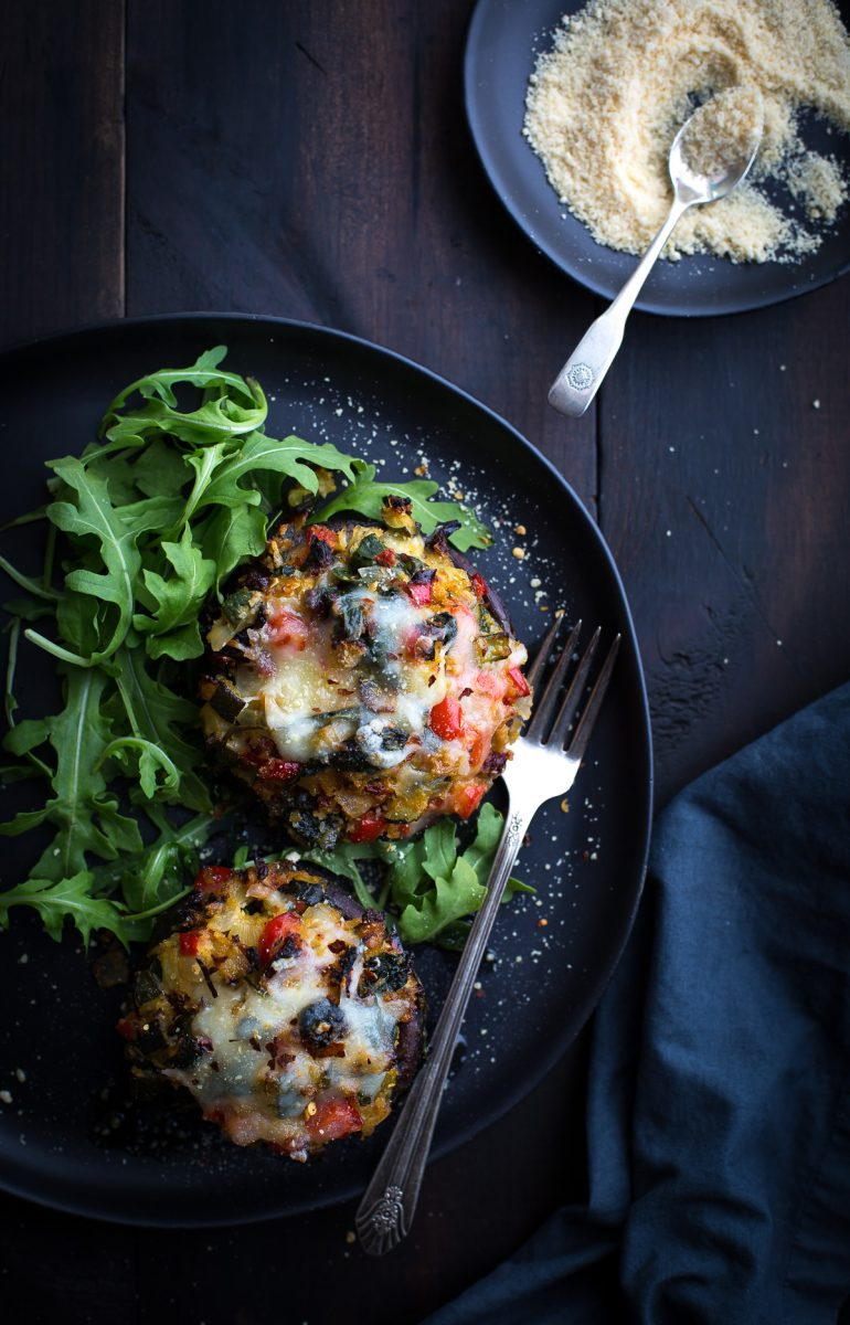 This may be the most delicious Vegetable Stuffed Portabella Mushrooms recipe! Healthy, easy and incredibly tasty! A Taste Love & Nourish reader favorite! #vegetarian #vegetable #stuffedmushrooms #stuffedportabellas #stuffedportobellos #veganoptions #glutenfreeoptions #easydinner