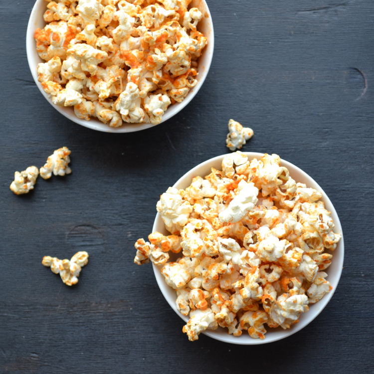 Sriracha Popcorn - You are going to love this fat-free method of popping corn!  Add this spicy, tangy sriracha topping and you've got the perfect healthy snack with lots of great flavor!  Easy-peasy!  From @tasteLUVnourish on TasteLoveAndNourish.com