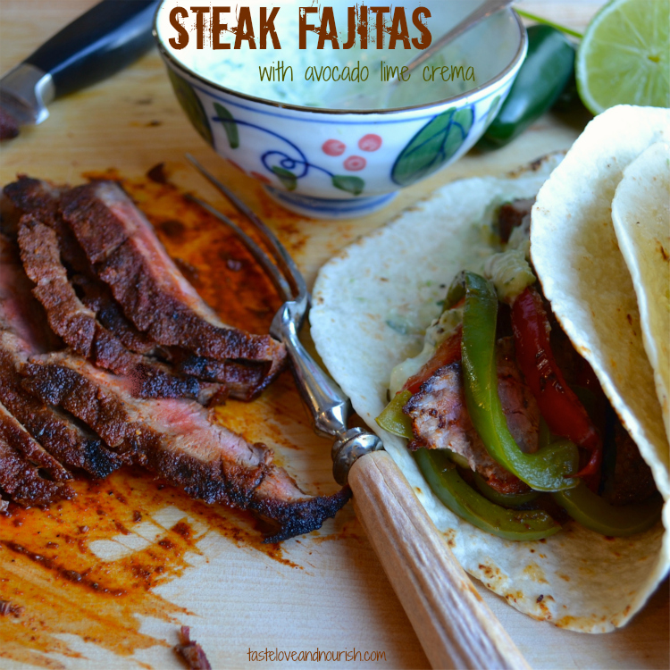 Steak Fajitas with Avocado Lime Crema