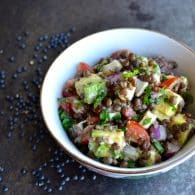 Beluga Lentil Salad with Hearts of Palm and Avocado - this power salad is packed with awesome flavors topped with a citrusy dressing. | @tasteLUVnourish on www.tasteloveandnourish.com