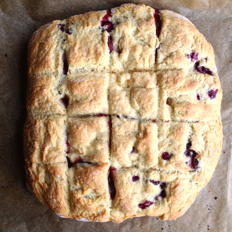Fresh Cherry and Almond Paste Scones