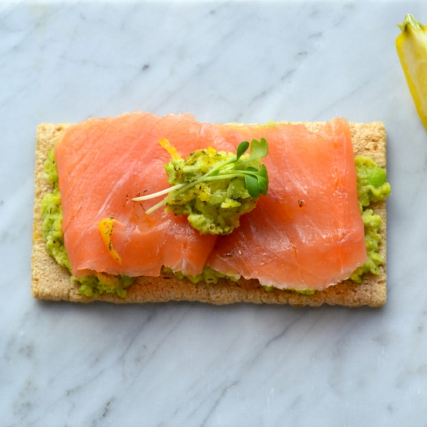 Mashed Fava Bean and Smoked Salmon Flatbread