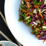 Asian Kale Slaw - Using kale's texture to its advantage, this slaw is crunchy and flavorful! | @tasteLUVnourish