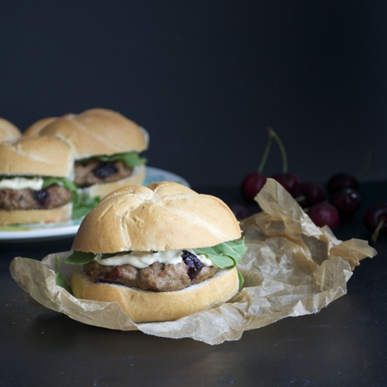 Turkey Burger with Cherries and Brie
