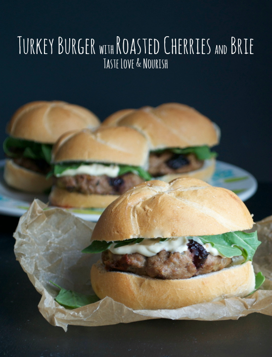 Turkey Burger with Roasted Cherries and Brie