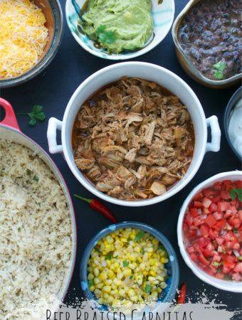 Beer Braised Carnitas Burrito Bowl | @tasteLUVnourish | #burritobowl #chipotle #carnitas #cilantrolimerice #freshsalsa #blackbeans #corn