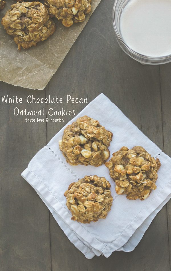 White Chocolate Pecan Oatmeal Cookies - you'll never believe how amazing these are and they're made with just two tablespoons of butter! | From @tasteLUVnourish on www.tasteloveandnourish.com