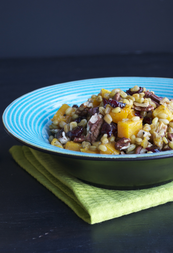 Freekeh, an ancient grain high in fiber, protein and calcium, makes this salad delicious, with roasted butternut squash, cranberries and roasted pecans.