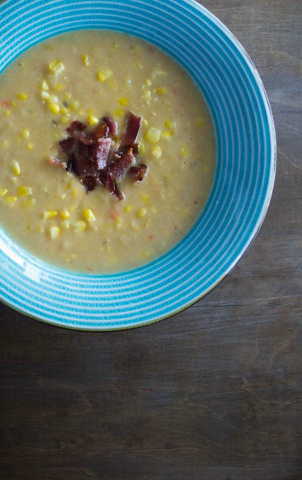 Corn Chowder - creamy, rich and warming with just a touch of crumbled bacon for a salty, smokey kick!