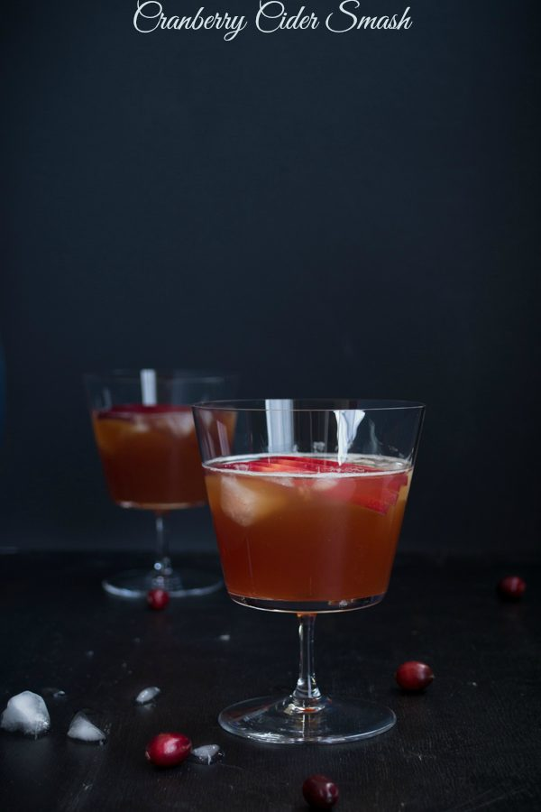 Cranberry Cider Smash - A mix of bourbon and apple cider with a splash of cranberry juice. | @tasteLUVnourish | #cocktail #festive #cranberry #bourbon #cider