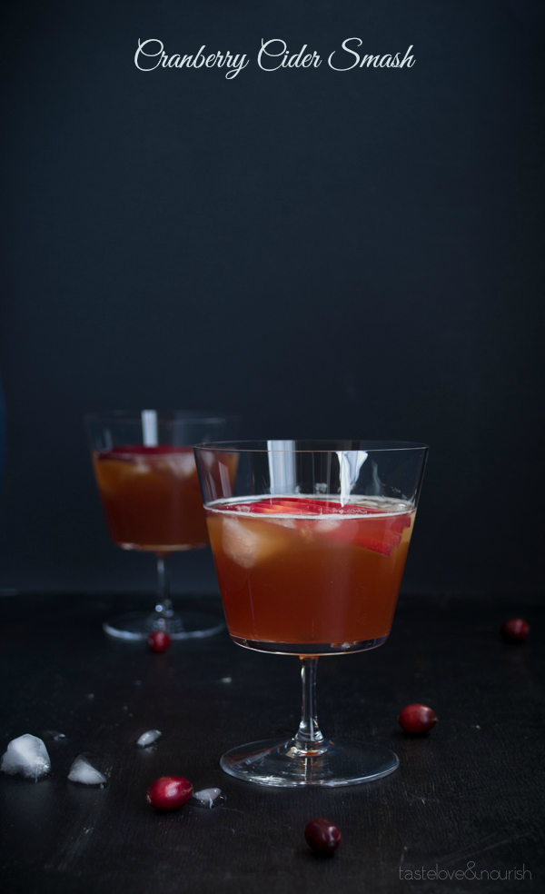 Cranberry Cider Smash - A mix of bourbon and apple cider with a splash of cranberry juice, this festive drink is perfect for the holidays!