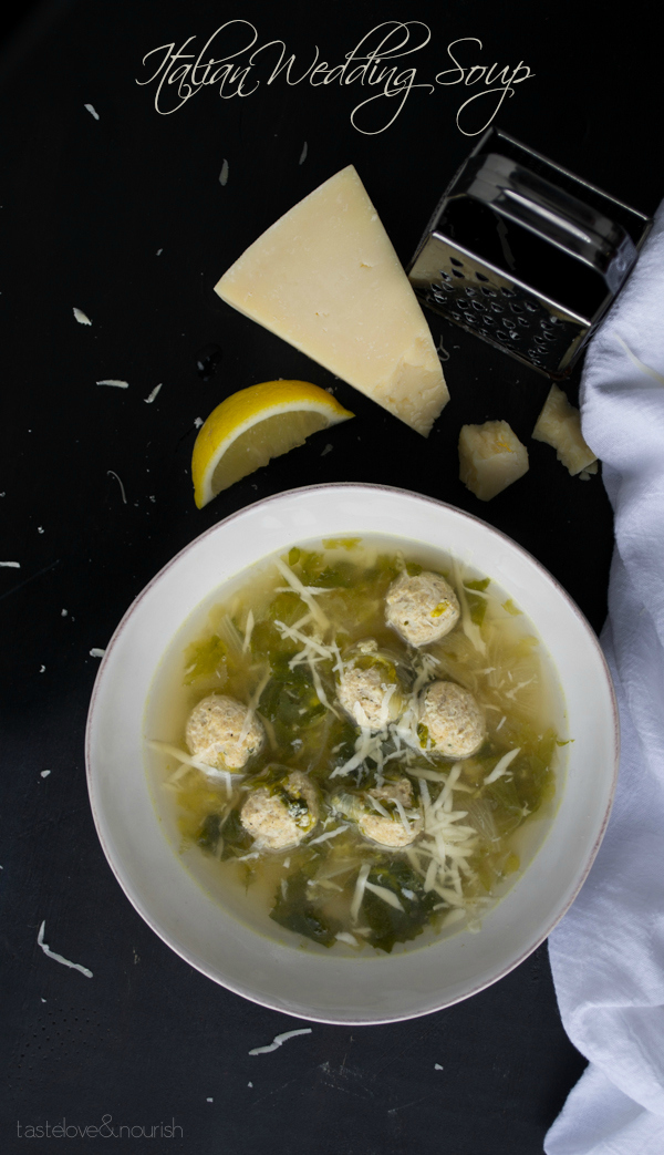 This Italian Wedding Soup made with chicken is light and healthy, but so delicious with buttery Parmesan and a bit of fresh lemon.