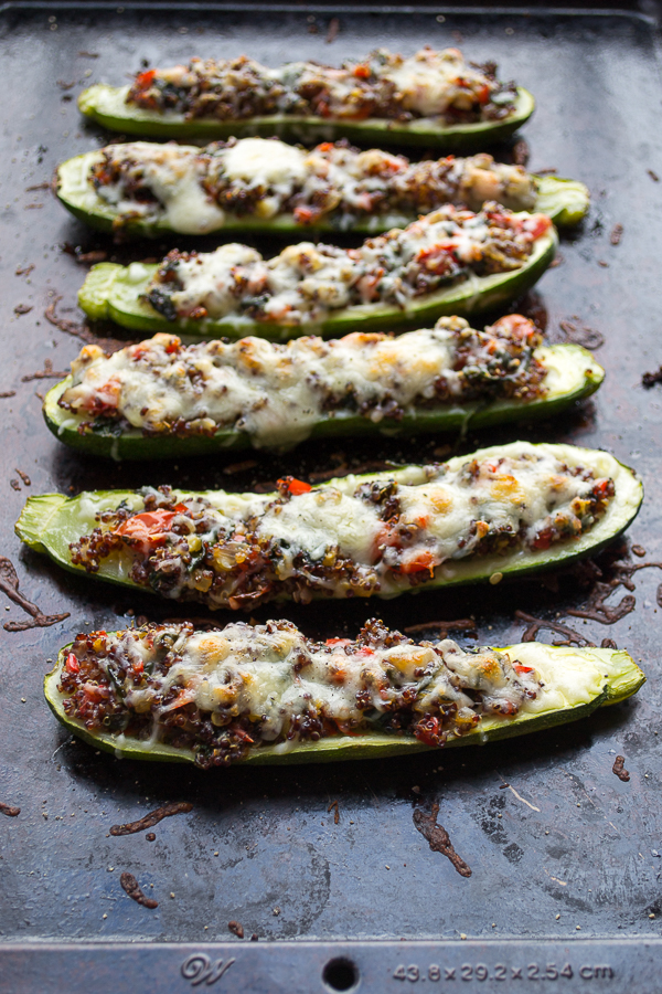 Vegetable and Quinoa Stuffed Zucchini is a super easy healthy dinner you can make days ahead of time. Incredibly delicious! | @tasteLUVnourish