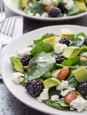Baby Kale and Blackberry Salad with Ricotta Salata, Avocado and Rosemary Honeyed Almonds | @tasteLUVnourish