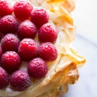 Brie Phyllo Torte with Fresh Raspberries