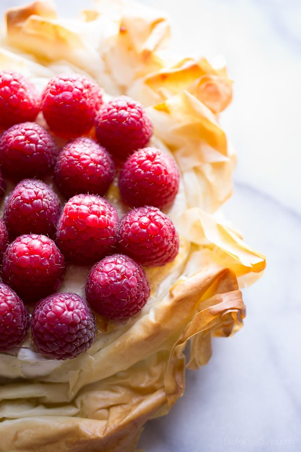 Brie Phyllo Torte with Fresh Raspberries - Taste Love & Nourish