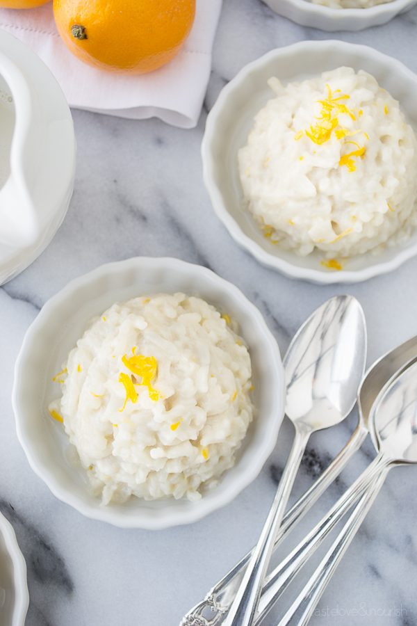 Meyer Lemon Rice Pudding with Jasmine Rice | @tasteLUVnourish | #ricepudding #meyerlemon #vegan #glutenfree #light