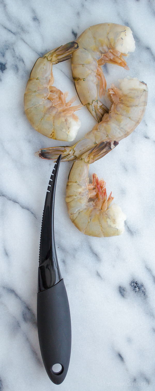 Shrimp with Pancetta and Peas Over Soft Polenta from Taste Love & Nourish