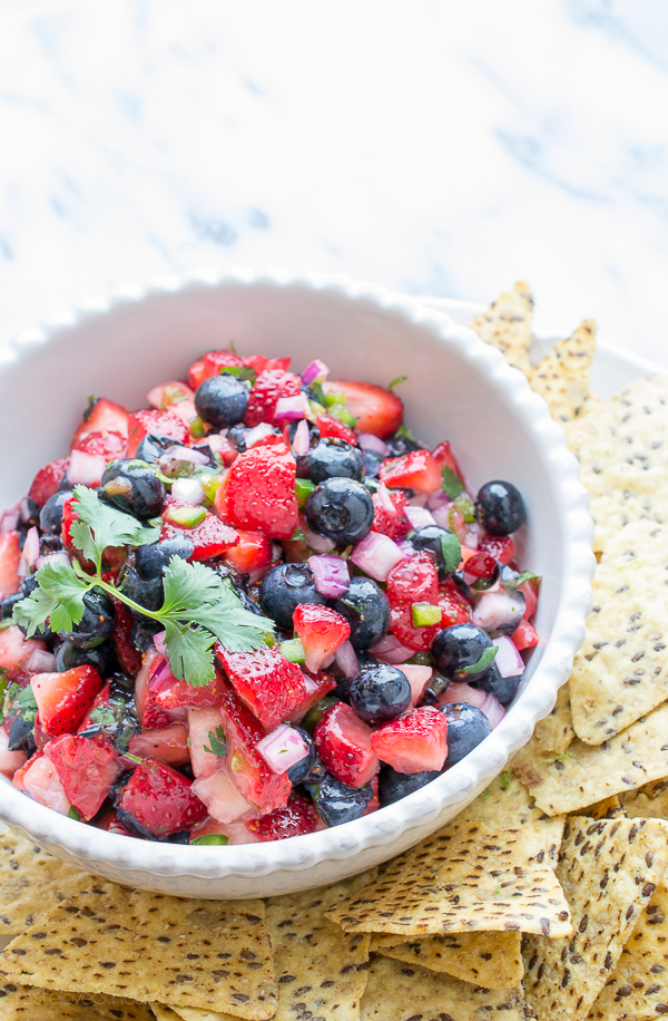 Berry Salsa - sweet and citrusy with a hint of spiciness. Perfect with crisp, salty tortilla chips. | @tasteLUVnourish