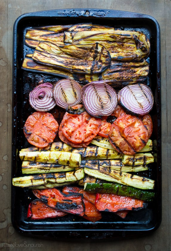 Grilled Ratatouille Tartine | @tasteLUVnourish | #ratatouille #tartine #grilled #vegetables #vegan
