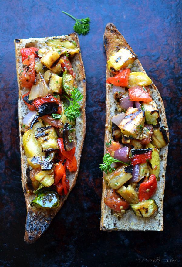 Grilled Ratatouille Tartine by Taste Love & Nourish