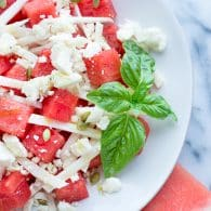 Watermelon Jicama Salad with Queso Fresco and Honey-Lime Vinaigrette | www.tasteloveandnourish.com
