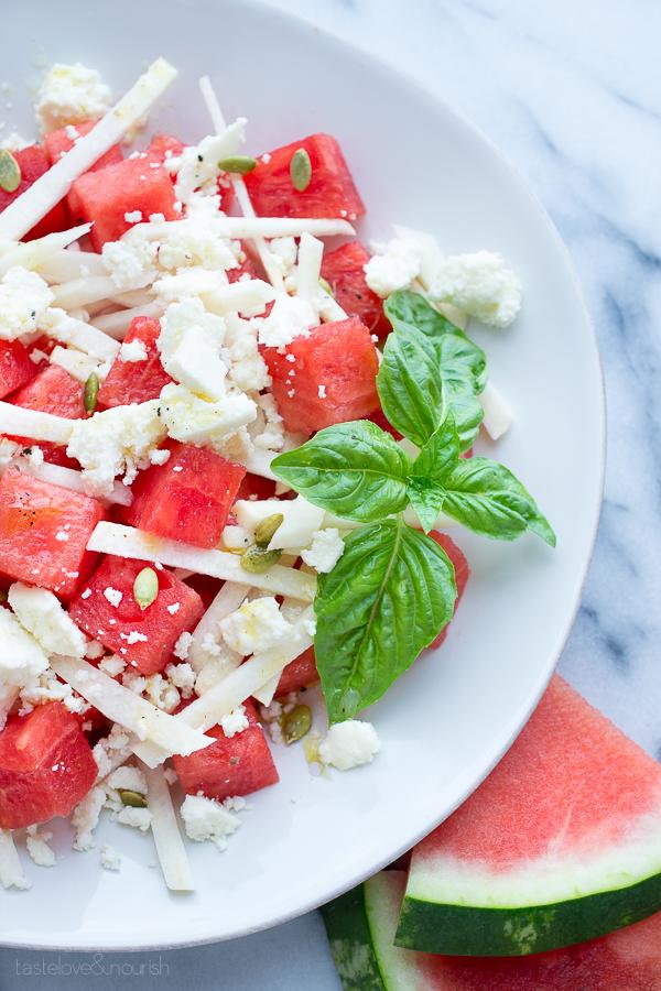 Watermelon Jicama Salad with Queso Fresco and Honey-Lime Vinaigrette   www.tasteloveandnourish.com