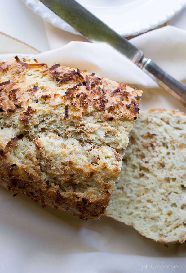 Coconut Bread | @tasteLUVnourish | @LoveMySilk #coconut #bread #breakfast #snack #plantprotein #healthy