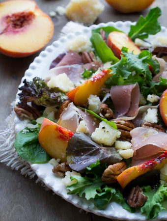 Peach Prosciutto and Parmesan Salad | www.tasteloveandnourish.com | #peach #prosciutto #parmesan #salad #summer