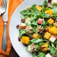 Baby Arugula Butternut Salad with Maple Vinaigrette | @tasteLUVnourish | #salad #butternut #apple #maple #walnut #healthy #superfoods