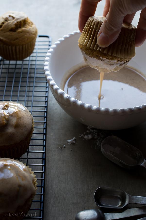 Maple Spice Glazed Pumpkin Muffins   @tasteLUVnourish   #pumpkin #muffins #fall #plantprotein @lovemysilk