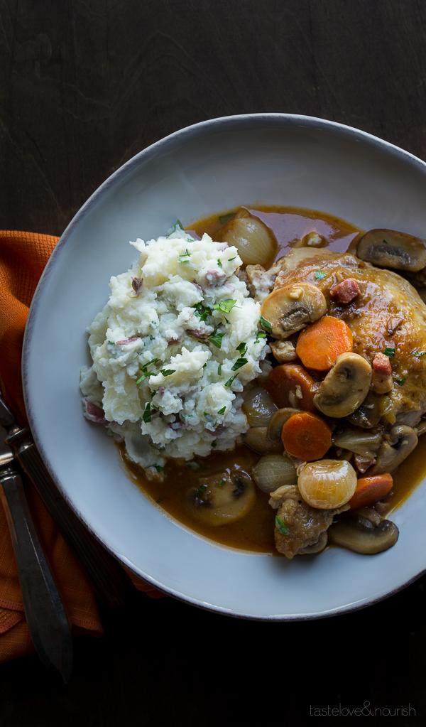 Coq au Vin Blanc | @tasteLUVnourish | #coqauvin #chicken #whitewine #stew #comfortfood