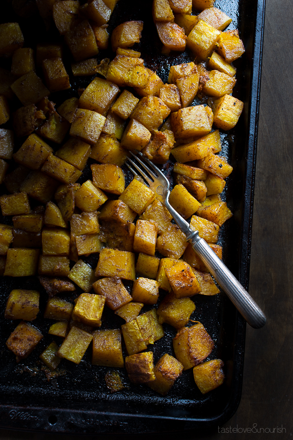Five-Spice Roasted Butternut Squash | @tasteLUVnourish #butternut #squash #fivespice #roasted #sidedish #fall #winter #easy #healthy #recipe #vegan #glutenfree #tasteloveandnourish