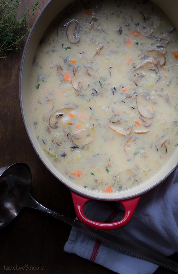 Mushroom and Wild Rice Soup | @tasteLUVnourish | #soup #healthy #mushrooms
