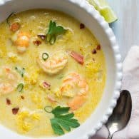 Thai Coconut Shrimp Soup - fresh, lightened up, with a perfect balance of flavors. This delicious recipe is the best I've made! | @tasteLUVnourish