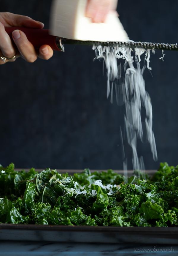 Massaged Kale Salad with Parmesan, Pine Nuts and Pomegranate   @tasteLUVnourish
