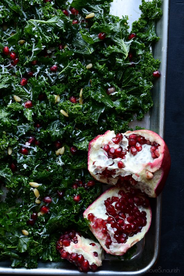 Massaged Kale Salad with Parmesan, Pine Nuts and Pomegranate | @tasteLUVnourish