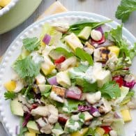 Thai Cashew Chicken and Mango Salad - this salad is full of so many great flavors and textures. | @tasteLUVnourish on TasteLoveAndNourish.com