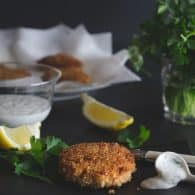 Crispy Salmon Cakes - you'll love this recipe adapted from Cook's Illustrated! Makes a fantastic dinner or impressive appetizer served with a Creamy Lemon-Herb Dipping Sauce. | @tasteLUVnourish on TasteLoveAndNourish.com
